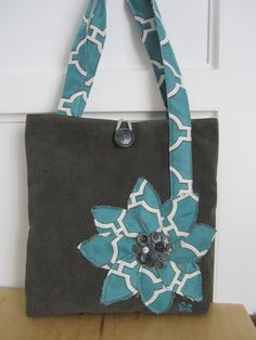 Grey and turquoise tote bag handmade lined by BerkshireCollections, $42.00