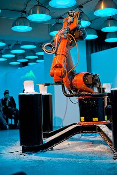 Valse Automatique is a design performance made to illustrate the symbiosis between humans and technology by translating music to form over the use of a kuka industrial robot.