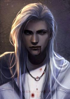 Vampire Souls of Hell that hide in a human body. Humans born with half Vampire blood have the power to drink blood, smell blood 10 miles away, and they have night vision. Fantasy Male, Dark Fantasy, Anime Fantasy, Art Sombre, Art Vampire, Character Inspiration, Character Art, Arte Obscura, Shot Hair