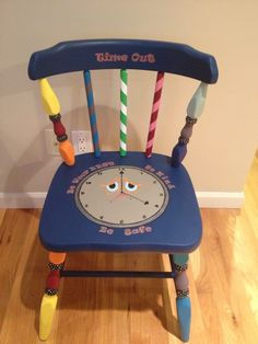 "Hand painted kids time-out chair.  Colorful and whimsical chair makes time out not so bad!  Chair says ""be kind, be safe, be your best"".  www.paintedchairsetc.com"