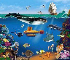 Иллюстратор Логинов Сергей (MasterWind) River Painting, Comic Strips, Shark Bedroom, Aquarium, Sci Fi, Ocean, Comics, Cartoons, Animals