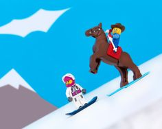 Colorado - Head 'em up, move 'em out, send 'em down...the snowboard wranglers of Aspen hoof it on the slopes.