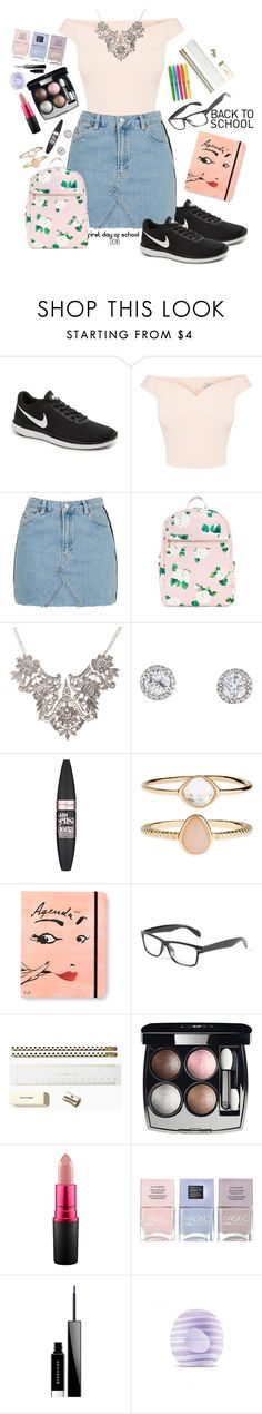 """school"" by tiannaloved ❤ liked on Polyvore featuring NIKE, Topshop, Maybelline, Accessorize, Kate Spade, Chanel, MAC Cosmetics, Nails Inc., Givenchy and Eos"