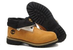 Top A+ Mens Timberland Roll-Top Shoes Yellow/White/Black