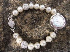 Natural Pearl Shamballa Watch by Gemsations26 on Etsy, £28.00