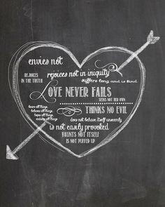 Love Never Fails Chalkboard Art by AltusPhotoDesign on Etsy Chalkboard Designs, Chalkboard Art, Chalk It Up, Chalk Art, Wall Candy, Be Good To Me, Love Never Fails, Keep The Faith, Digital