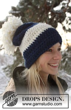 "Hat in ""Eskimo"" yarn, free pattern 0-751 by DROPS Design.  Oversized & a little slouchy, bulky yarn with hook size K.   #crochet"