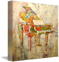 """Grand Piano"" by Gino Savarino, Chicago // Modern and contemporary art from Gino Savarino. Colorful and bold grand Piano music painting. // Imagekind.com -- Buy stunning fine art prints, framed prints and canvas prints directly from independent working artists and photographers."