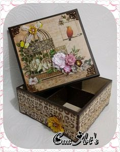 Decoupage Vintage, Decoupage Box, Altered Cigar Boxes, Jewelry Box Makeover, Pallet Boxes, Pretty Box, Christmas Wood, Outdoor Art, Animal Design