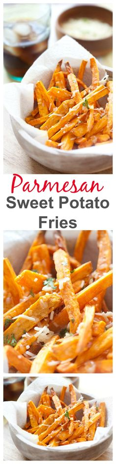 Sweet potato fries with parmesan cheese.
