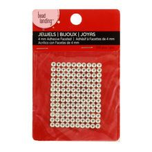 Bead Landing Adhesive Faceted Jewels, Clear 4 mm