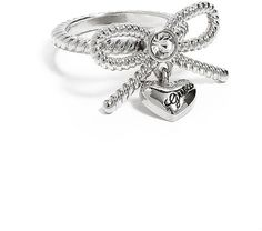 GUESS Silver-Tone Bow Ring With Logo Heart Charm -love