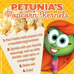 Try this quick and easy popcorn recipe. Perfect for a movie night, gameday or fall party! #NationalPopcornMonth #Recipe #VeggieTales