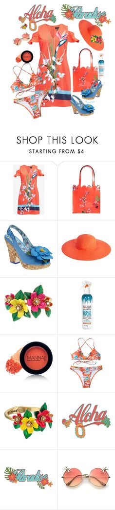 """""""Tropical Vacation"""" by ragnh-mjos ❤ liked on Polyvore featuring Ted Baker, Monsoon, Betsey Johnson, Not Your Mother's and Manna Kadar Cosmetics"""