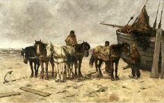 Johan Frederik Cornelis Scherrewitz (1868-1951) Bomschuit op het strand met trekpaarden.