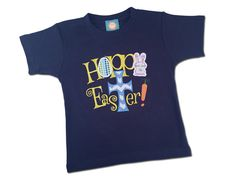 Boy's Easter Shirt  'Hoppy Easter' Happy Easter with Cross by SunbeamRoad