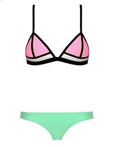 Skyjoy Women Push up Bright Diving Suit Neoprene Bikini Set Swimsuit Swimwear Small US pink green. Check website for more description.