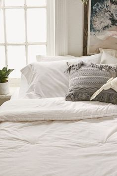 Bedding and Sheets and Blankets · Urban Outfitters Washed Cotton Comforter  Snooze Set - White King Cute Home Decor e3e1331be