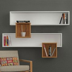 Salad Wall Shelves White Walnut by Decortie Tv Unit Furniture, Solid Wood Furniture, Diy Furniture, Furniture Design, Bookshelf Design, Wall Shelves Design, Etagere Design, Muebles Living, Wall Shelf Decor