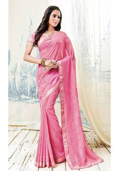 Pink party wear embroidered saree
