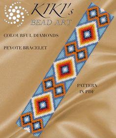 Pattern peyote bracelet  Colourful diamonds by KikisBeadArts