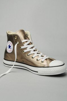 Converse All Star High Tops in Gold Metallic Leather