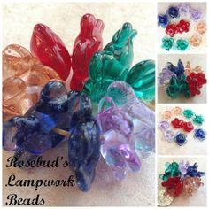 Handmade Lampwork Glass Flower Disc Bead Pairs  by rosebud101, $25.00