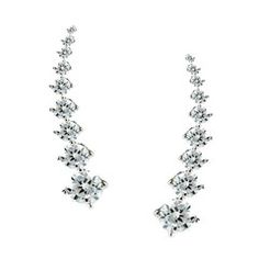Sterling Silver Cz Ear Climber Earrings 22mm Fancy Earrings, Cubic Zirconia Earrings, Bangles, Bracelets, Climbers, Fashion Jewelry, Pendants, Chain, Sterling Silver