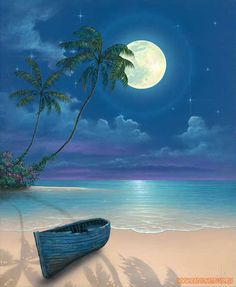 Malen Malerei / am Meer mit Strand Palme Mond The beach Malen am Meer am Strand Palm Tree Moon Beach Sunrise Painting, Moon Painting, Seascape Paintings, Landscape Paintings, Beach Paintings, Moon Beach, Caribbean Art, Tropical Art, Beautiful Moon