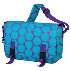 Get the jump on your day with the Wildkin Big Dot Aqua Jumpstart Messenger Bag. Cool and convenient, this messenger bag will easily hold your 15 inch laptop, tablet, or books. It's great for school, travel, or for around town.  Features include multiple interior pockets and a water-resistant lining. Plus, have extra security with full snaps and a Velcro-like seal. This bag has what you need to keep you organized when on the go.
