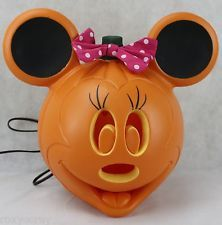 Halloween Disney Light Up Minnie Mouse Jack O Lantern Pumpkin 11 in NWT