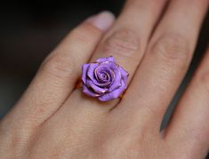 Floral ring, Flower jewelry, Polymer clay ring, Adjustable ring, Lilac rose ring, Handmade gift for women, Sculpted ring