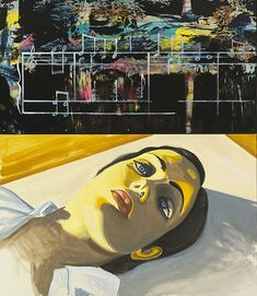 """David Salle (b. 1952, American), """"Swamp Music"""", (2013), Oil on canvas, acrylic and silkscreen ink on metal, 75 x 65 inches. All images © David Salle and VAGA, NYC."""