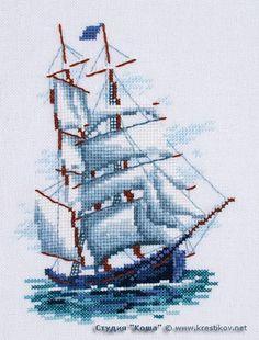 "Scheme ""Sailing"" | cross-stitch from the studio ""Kosh"" Cross Stitch Sea, Cross Stitch Needles, Hand Embroidery Stitches, Cross Stitch Embroidery, Cross Stitch Designs, Cross Stitch Patterns, Lego Mosaic, Stitch Crochet, Sewing Art"