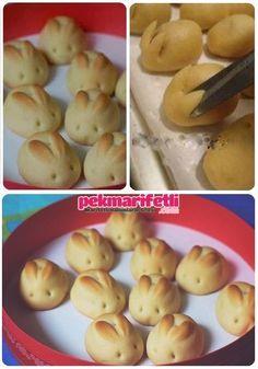 Malzemeler 4.5 çay bardağı un (çay bardağı biraz büyük olacak) 135 gr. oda sıcaklığında yumuşamış margarin 5 tepeleme çorba kaşığı pudra şekeri 1 yumurta a.. Tavşan kurabiye yapımı..