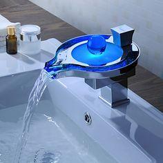 Sprinkle® - el cambio de color baño llevó cascada grifo del fregadero (diseño exclusivo) con pop-up de residuos – EUR € 89.99