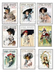 Victorian Ladies Hats, Digital Collage Sheet, Vintage, Ephemera, DP111