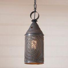 "15"""" Electrified Hanging Lantern Pendant in Blackened Punched Tin"
