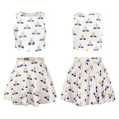 #emoji #skirtset #croptop Cfanny  Women's Emoji Digital Print Crop Tank Top Skater Skirt 2 Pieces Set Dress  http://amzn.to/28XMs2V