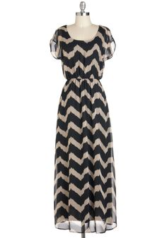 Miracle Maxi Dress in Black and Beige | Mod Retro Vintage Dresses | ModCloth.com