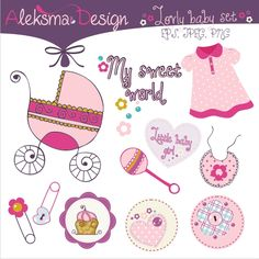 Lovely baby girl elements. Perfect for invitations, labels, scrapbook, embroidery...  Set contains eleven elements in JPEG 300dpi and transparent PNG 300dpi, and EPS version 8.