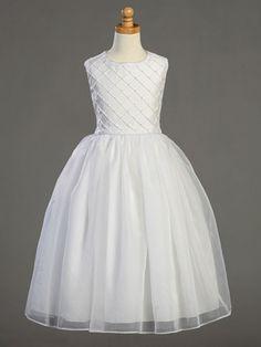 Girls Shantung Tucked Bodice First Communion Dress