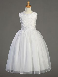 Girls Shantung Tucked Bodice First Communion Dress
