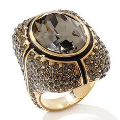 "AKKAD ""La Senora"" Black Diamond-Color Pavé Crystal Black Enamel Ring at HSN.com."