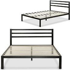 Zinus Modern Studio 14 Inch Platform Metal Bed Frame / Mattress Foundation / Wooden Slat Support / with Headboard, Twin - Bett Tufted Headboard Queen, Black Headboard, Bed Frame And Headboard, Bed Frames, King Bed Frame, Mattress Springs, Foam Mattress, Platform Bed Frame, Wooden Slats