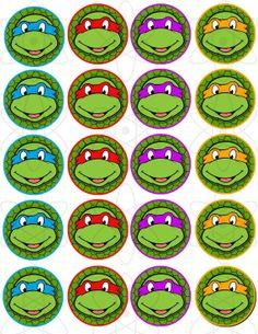 2 PRINTABLE Teenage Mutant Ninja Turtles Cupcake by AtomDesign, $5.00