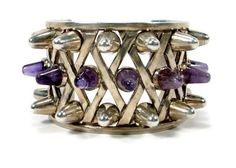 Antonio Pineda Amethyst Cuff Bracelet Sterling by VintageGemz