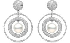 Yoko London - Mayfair Collection - 18k white gold earrings with 14.77cts. of diamonds & south sea pearls 14 - 15 mm