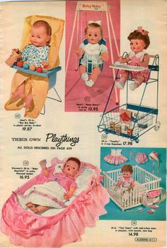 1960 Ad 4 PG Doll Tiny Tears Horsman Penny Betsy Wetsy Doll Swing Ideal Bye Bye Baby |Toodles 3-way SuperKart