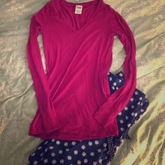 PINK long sleeve tshirt PINK long sleeve shirt. Super soft and cozy shirt in a gorgeous color. Size small. Worn once or twice. No rips, stains, or tears PINK Victoria's Secret Tops Tees - Long Sleeve